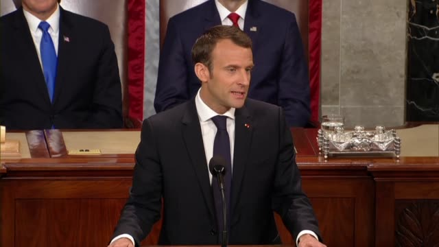 french president emmanuel macron tells members of congress and guests in a joint meeting that says on climate change there happened to be... - paris agreement stock videos & royalty-free footage