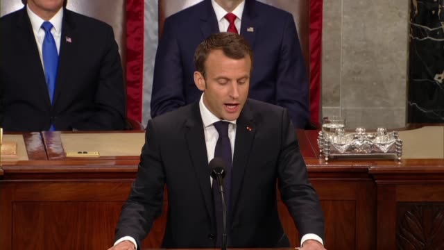 french president emmanuel macron tells members of congress and guests in a joint meeting that terrorist propaganda must be fought, it's gripping... - 隣り合う点の映像素材/bロール