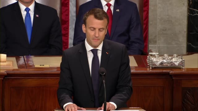 french president emmanuel macron tells members of congress and guests in a joint meeting that the invitation of president donald trump had a... - アメリカ連邦議会点の映像素材/bロール