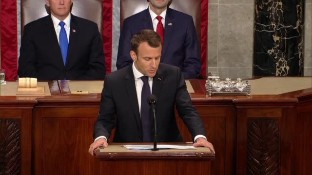 french president emmanuel macron tells members of congress and guests in a joint meeting that that the two nations had fought shoulder to shoulder in... - benjamin franklin stock videos & royalty-free footage