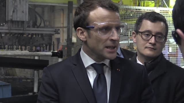 French President Emmanuel Macron travels to a Toyota factory in northern France to mark the Japanese company's new 300 million euro investment at the...