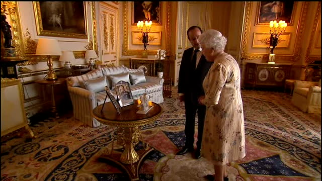 french president francois holland meets with david cameron on visit to london; buckingham palace: int ** warning some flash photography *** queen... - françois hollande stock videos & royalty-free footage