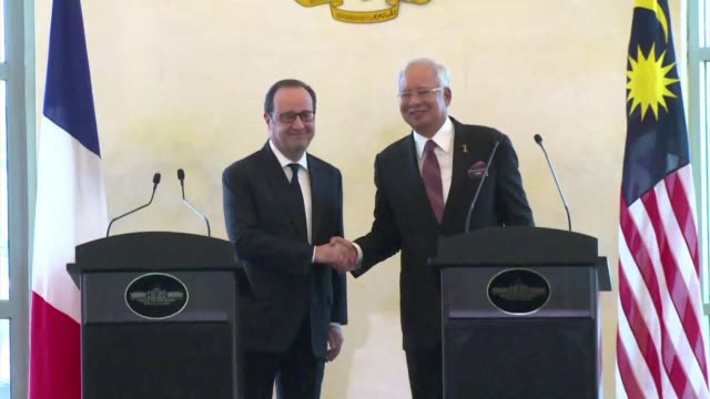 french president francois hollande and his malaysian counterpart najib razak talk about the rafale combat aircraft at a press conference in putrajaya - putrajaya stock videos & royalty-free footage