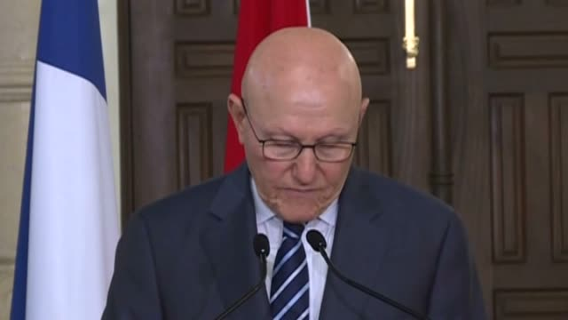 vídeos de stock e filmes b-roll de french president francois hollande and prime minister of lebanon tammam salam attend a joint press conference following their meeting at the... - presidente