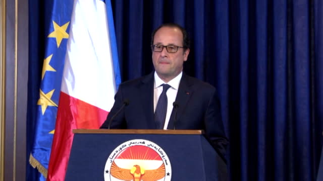 french president francois hollande and the kurdistan iraqi regional government president massoud barzani give a joint press conference following... - françois hollande stock videos & royalty-free footage