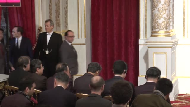 french president francois hollande meets with japan's prime minister shinzo abe at the elysee presidential palace in paris, france on march 20, 2017. - françois hollande stock videos & royalty-free footage