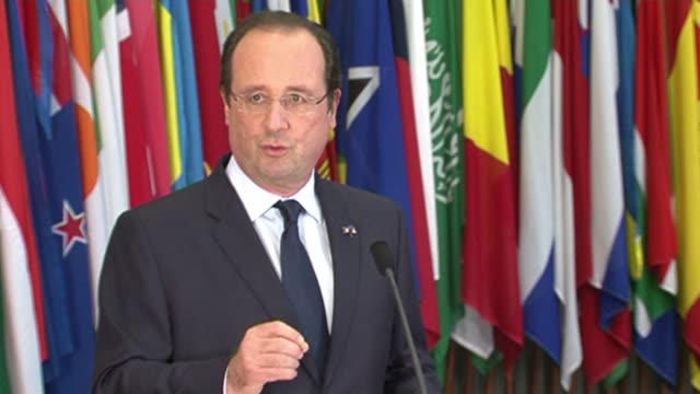 french president francois hollande on an official visit to the netherlands said the geneva ii conference must focus on political transition in syria... - the hague stock videos and b-roll footage