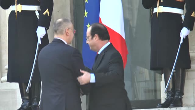 french president francois hollande receives heads of state and european social democratic governments at the elysee presidential palace on march 12,... - president of france stock videos & royalty-free footage