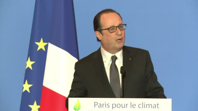 french president francois hollande urged european cities to act on climate change saying that action was needed to prevent humanitarian as well as... - françois hollande stock videos & royalty-free footage