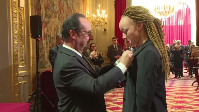 french president francois hollande welcomed 67 olympic and paralympic medalists from rio 2016 at the elysee palace on thursday awarding them france's... - françois hollande stock videos & royalty-free footage