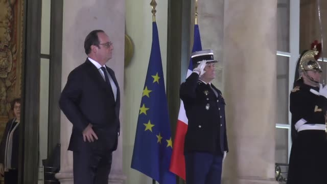 french president francois hollande welcomes his armenian counterpart serzh sarkisian as he arrives to attend an official dinner at the elysee palace... - françois hollande stock videos & royalty-free footage