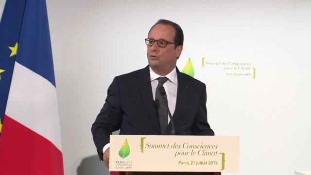 french president françois hollande hosts presummit with spiritual leaders and elected officials to prepare un climate talks in december - 2015 stock videos & royalty-free footage