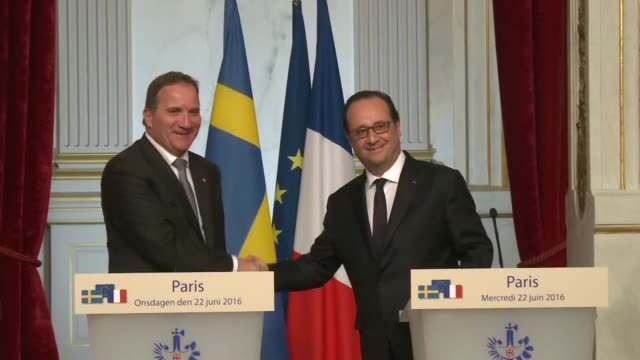 French President François Hollande received Swedish Prime Minister Stefen Lofven at the Elysee Palace where they discussed the outcome of the...