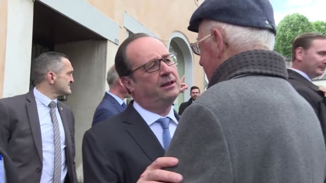 French President François Hollande visits Tulle France on Sunday after casting his vote in the second round of presidential elections there earlier...