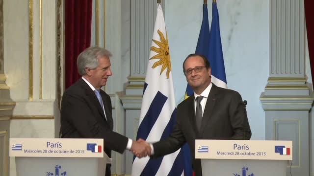 french president françois hollande welcomed at the elysee palace his uruguayan counterpart tabare vazquez saying after the meeting that there was a... - mercosur stock videos & royalty-free footage