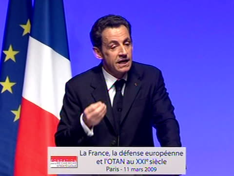 french president nicolas sarkozy announced on wednesday that france would return to the nato military command and seek a larger role as a full... - president of france stock videos & royalty-free footage