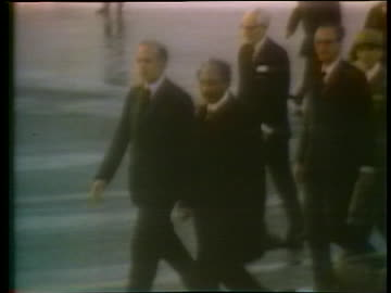 french president valery giscard d'estaing and egyptian president anwar sadat walk on an airfield in 1975. - politics and government stock videos & royalty-free footage