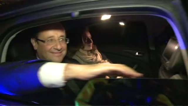 French presidentelect Francois Hollande makes his way from Tulle central France to Paris by plane and motorcade to meet with supporters at the...