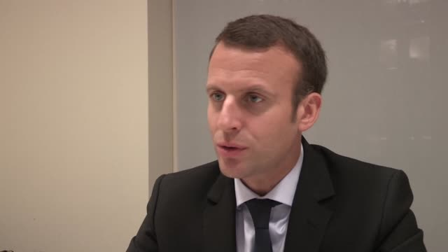 french presidential candidate emmanuel macron says he hopes to bring the people of france together to create one coherent vision for the country... - new york university stock videos & royalty-free footage