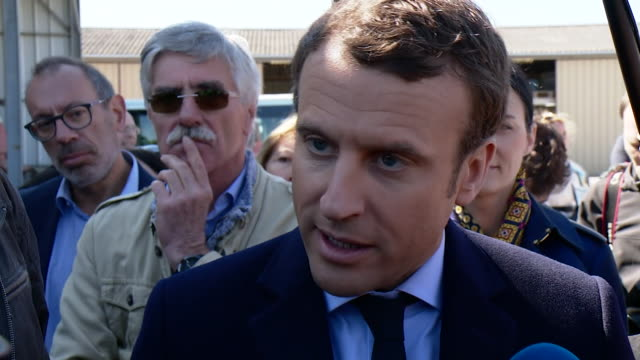 french presidential candidate emmanuel macron states that we need a new european union to protect the french people and to regulate globalisation - politische wahl stock-videos und b-roll-filmmaterial