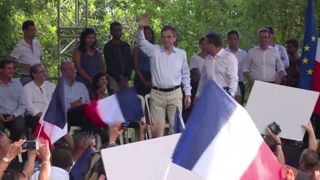 vídeos de stock, filmes e b-roll de french presidential candidate françois fillon goes on the offensive during his two day trip to ile de la reunion determined to fight until the end in... - ilhas mascarene