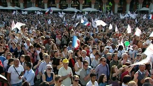 french presidential elections: francois hollande ahead in polls after television debate; france: toulouse: ext francois hollande on stage at rally... - françois hollande stock videos & royalty-free footage