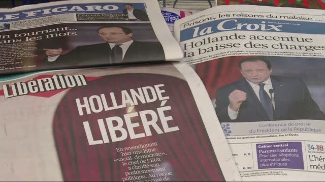 french press front pages a day after a key news conference by president francois hollande at which he announced a shift in economic policy, but said... - shift key stock videos & royalty-free footage