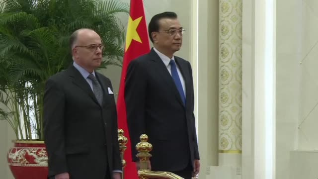 french prime minister bernard cazeneuve begins a two day official visit to beijing, meeting with his chinese counterpart premier li keqiang at a... - bernard cazeneuve stock videos & royalty-free footage
