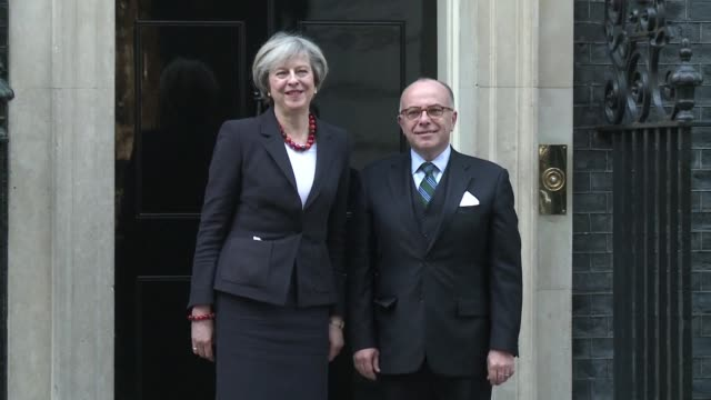 french prime minister bernard cazeneuve meets his british counterpart theresa may at 10 downing street in london - bernard cazeneuve stock videos & royalty-free footage