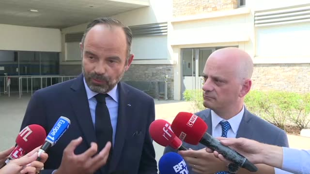 french prime minister edouard philippe and education minister jean-michel blanquer say school reform will be for all students and not just an elite... - var stock videos & royalty-free footage