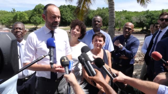french prime minister edouard philippe assures upon his arrival in guadeloupe that the government was taking the subject of sargasso algae with its... - french overseas territory stock videos & royalty-free footage