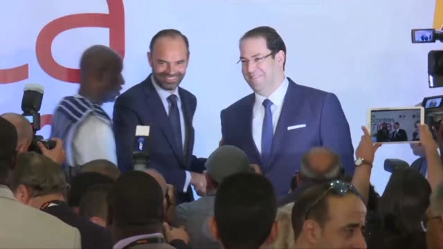 French Prime Minister Edouard Philippe delivered an opening statement at the Africa 2017 meetings in Tunis on Thursday