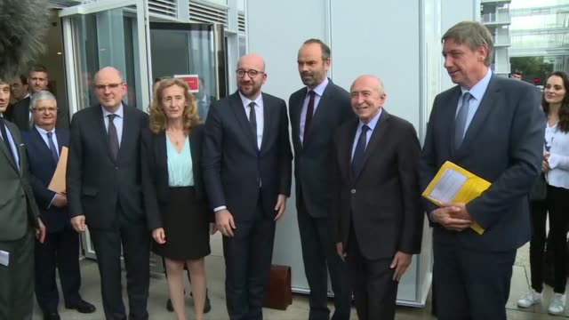french prime minister edouard philippe interior minister gérard collomb and justice minister nicole belloubet welcome belgian prime minister charles... - prime minister video stock e b–roll