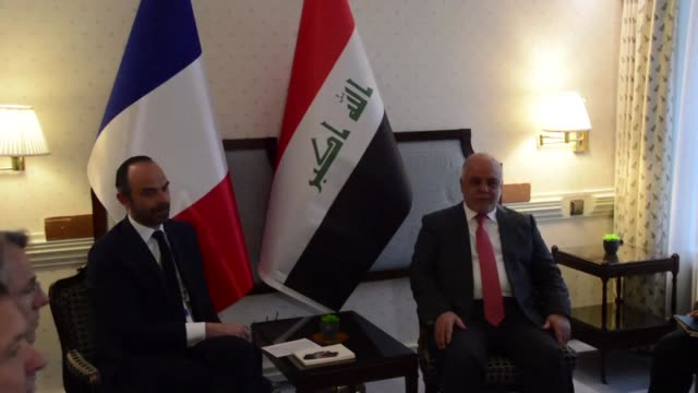 French Prime Minister Edouard Philippe meets with his Iraqi counterpart Haider alAbadi on the sidelines of the Munich Security Conference on Saturda