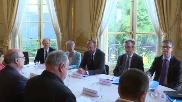 french prime minister edouard philippe meets with representatives from rail union unsa in paris over plans to reform the state operator sncf - prime minister video stock e b–roll