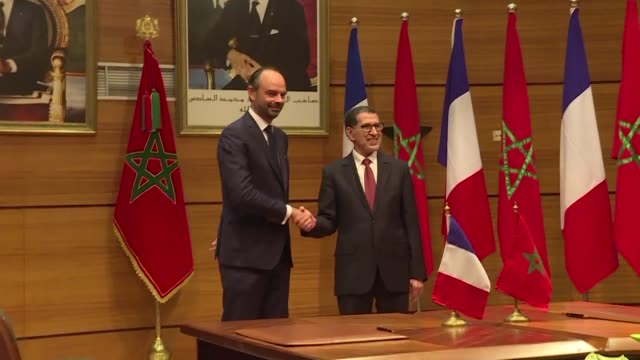 french prime minister edouard philippe on thursday took part in his first official visit to morocco focusing on economic issues in africa attending a... - attending stock videos and b-roll footage
