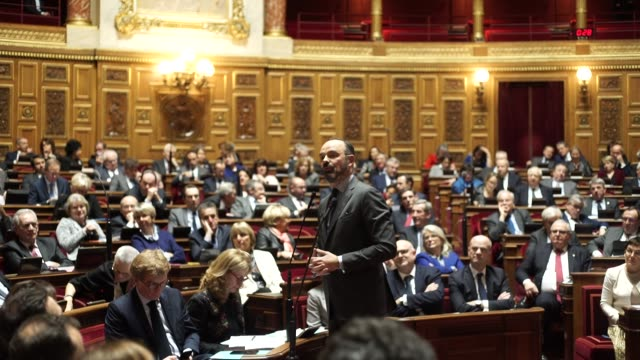 french prime minister edouard philippe speaks about the social crisis in france at the session of questions to the government at the senate on... - prime minister's questions stock videos & royalty-free footage