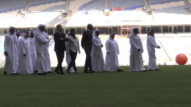 french prime minister edouard philippe visits al wakrah stadium in doha which is near completion ahead of its official opening for the world cup 2022 - national team stock videos & royalty-free footage