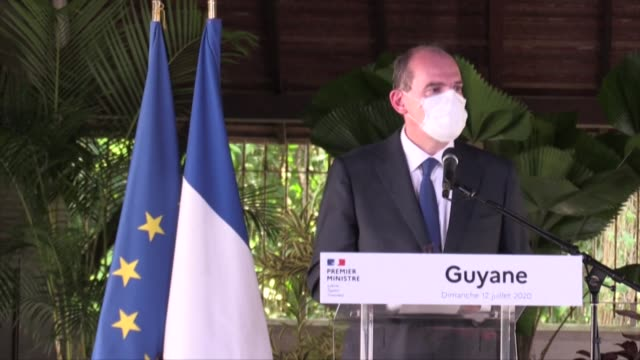 vídeos de stock, filmes e b-roll de french prime minister jean castex visits french guiana to thank health authorities and pledge more support in the fight against the coronavirus... - territórios ultramarinos franceses
