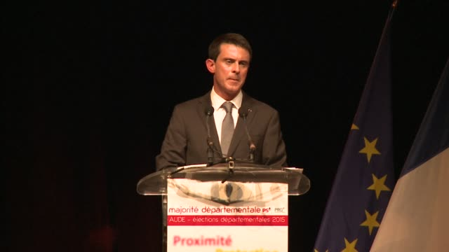 french prime minister manuel valls headed thursday to palaja in the aude region to support candidates of the ps running in regional elections - aude stock videos & royalty-free footage