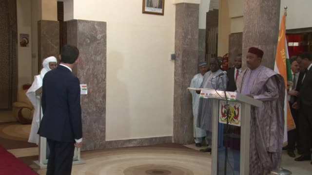 french prime minister manuel valls met with the president of niger mahamadou issoufou on sunday - mahamadou issoufou stock videos and b-roll footage
