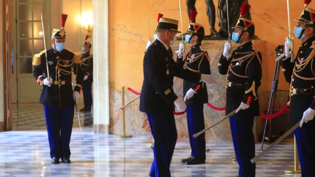 french republican guards wear masks to protect themselves from coronavirus before a weekly session of questions to the government at the french... - politics illustration stock videos & royalty-free footage