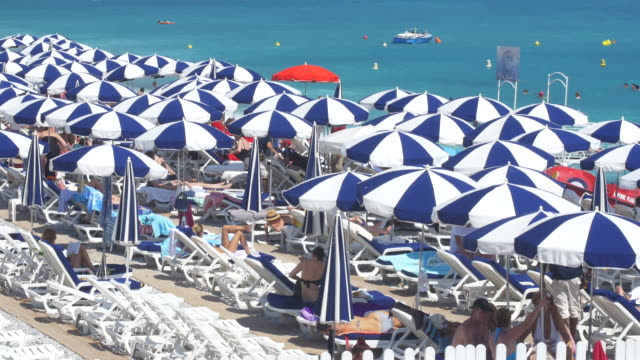 french riviera parasols at nice - parasol stock videos & royalty-free footage