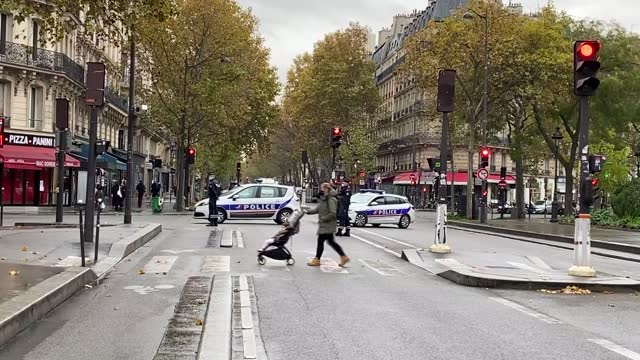 french security forces took intense security measures on friday before the bataclan attack commemoration ceremony in paris. the multiple gun-and-bomb... - terrorism stock videos & royalty-free footage