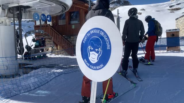 french ski resort brings in new sanitary restrictions to counter the novel coronavirus including mandatory mask-wearing on ski lifts as skiers and... - ski lift point of view stock videos & royalty-free footage