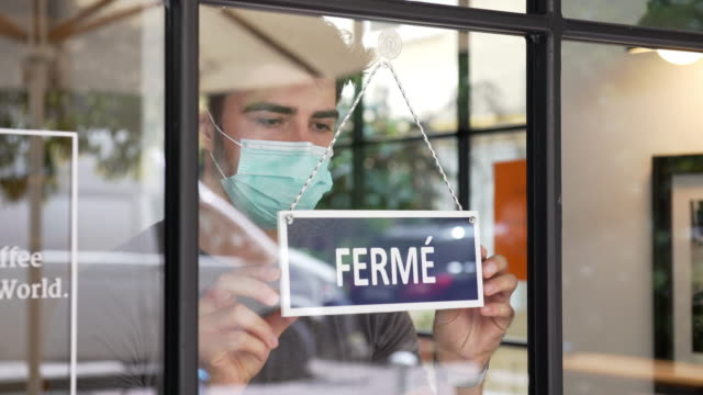 french small business closing during covid-19 pandemic - france stock videos & royalty-free footage
