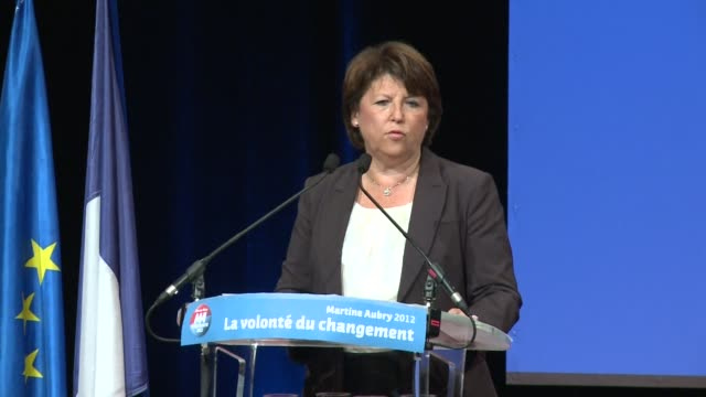 French Socialist Party leader Martine Aubry holds her first campaign meeting in Toulouse with close supporter Pierre Cohen mayor of the 'Pink City'...