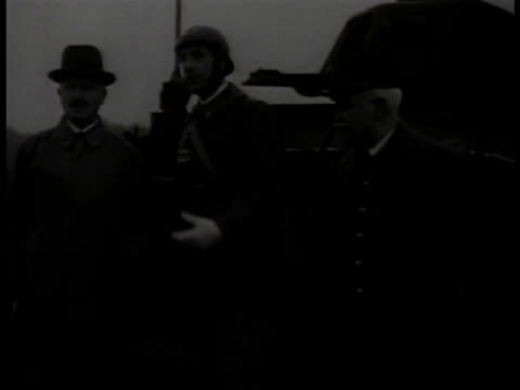 french soldiers standing w/ tanks possibly 5th army colonel charles de gaulle in uniform by tanks talking w/ french president albert lebrun president... - charles de gaulle stock videos & royalty-free footage