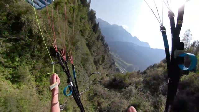 stockvideo's en b-roll-footage met french speed flyer enjoyed a daredevil day out with a friend in the austrian alpine region of... - https