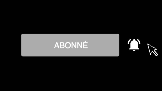 french subscribe button animation with bell and black background - 矢印点の映像素材/bロール
